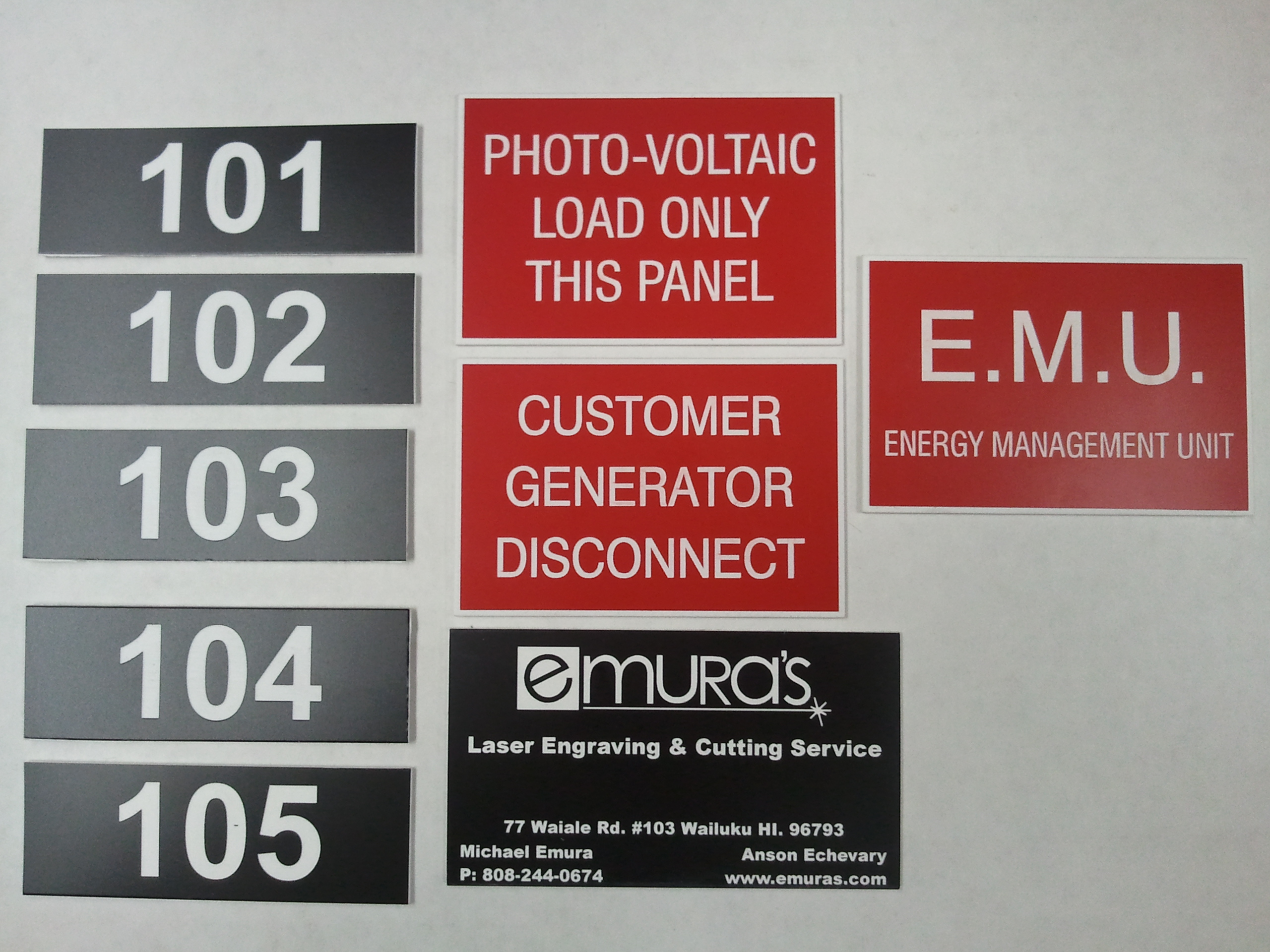 Plastic tags signs phenolic solar PV Photovoltaic labels & Name Tags | Emura\u0027s